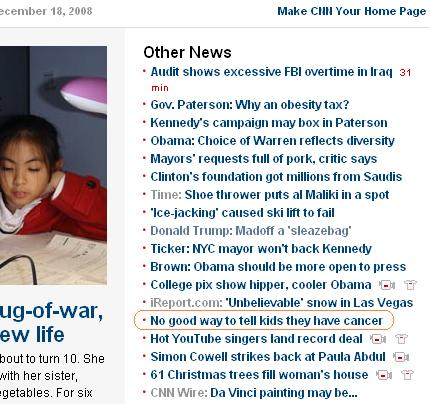 CNN Front Page Screen Shot