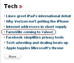 Farmville on Yahoo