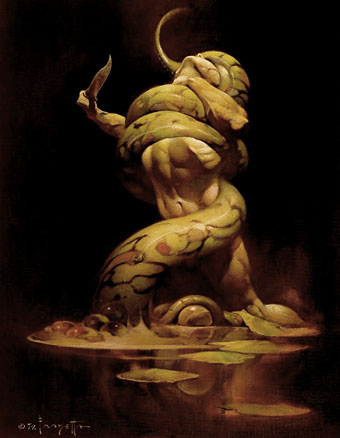Serpent by Frank Frazetta; cover to Ardor on Argos by Andrew Offutt (1973).