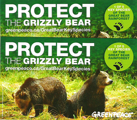 Green Peace Grizzly Stickers