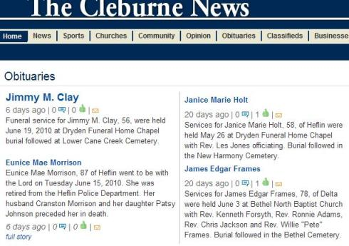 The Cleburne News Obituaries