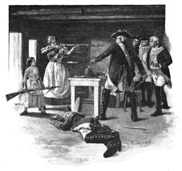 Nancy Hart holds British troops at gun point during The American Revolutionary War
