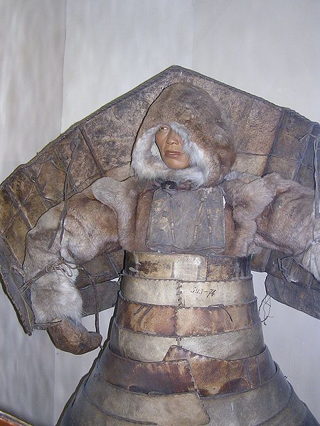 [From Wikipedia] Laminar armour from hardened leather enforced by wood and bones worn by native siberians and Eskimo