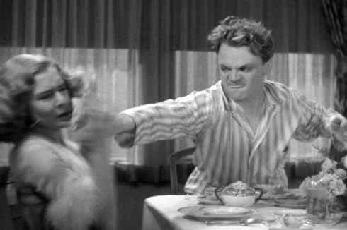 James Cagney hits Mae Clark with a grapefruit in Public Enemy