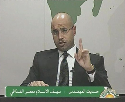 A video grab shows Saif al-Islam, son of Libyan leader Muammar Gaddafi, speaking during an address on state television in Tripoli