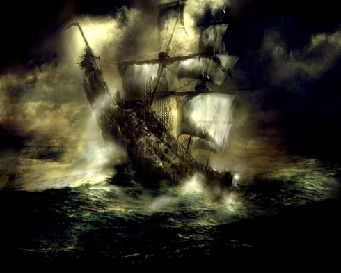 Concept art for the Flying Dutchman from Pirates of the Caribbean: Dead Man's Chest